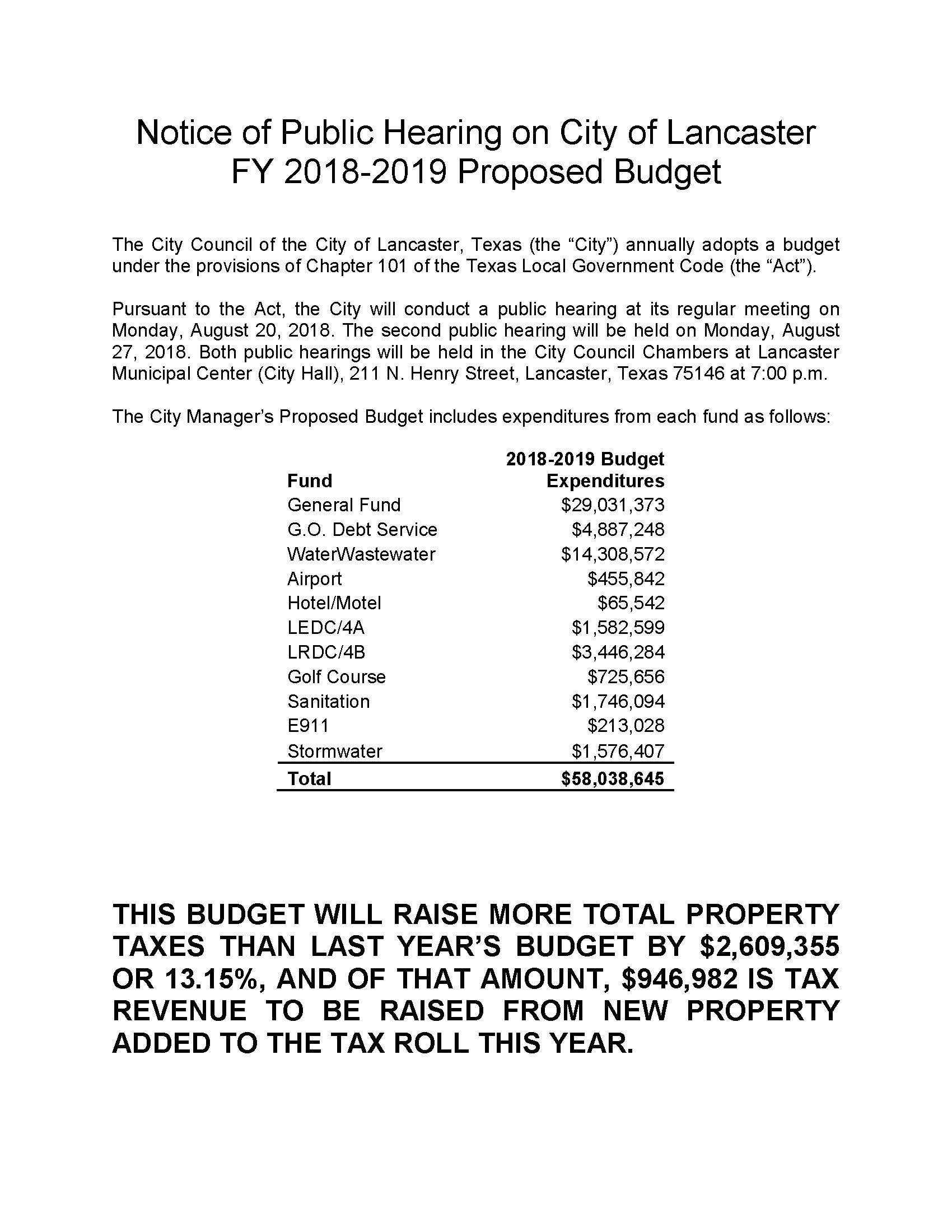 2018-2019 Notice of Proposed Budget